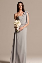 Natasha Millani one shoulder bridesmaid dresses in grey