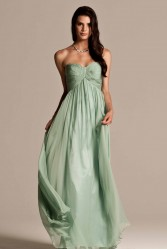 Natasha Millani green strapless bridesmaid dresses in light green