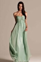 Natasha Millani green strapless bridesmaid dresses in light green