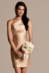 beige one-shoulder bridesmaid dresses