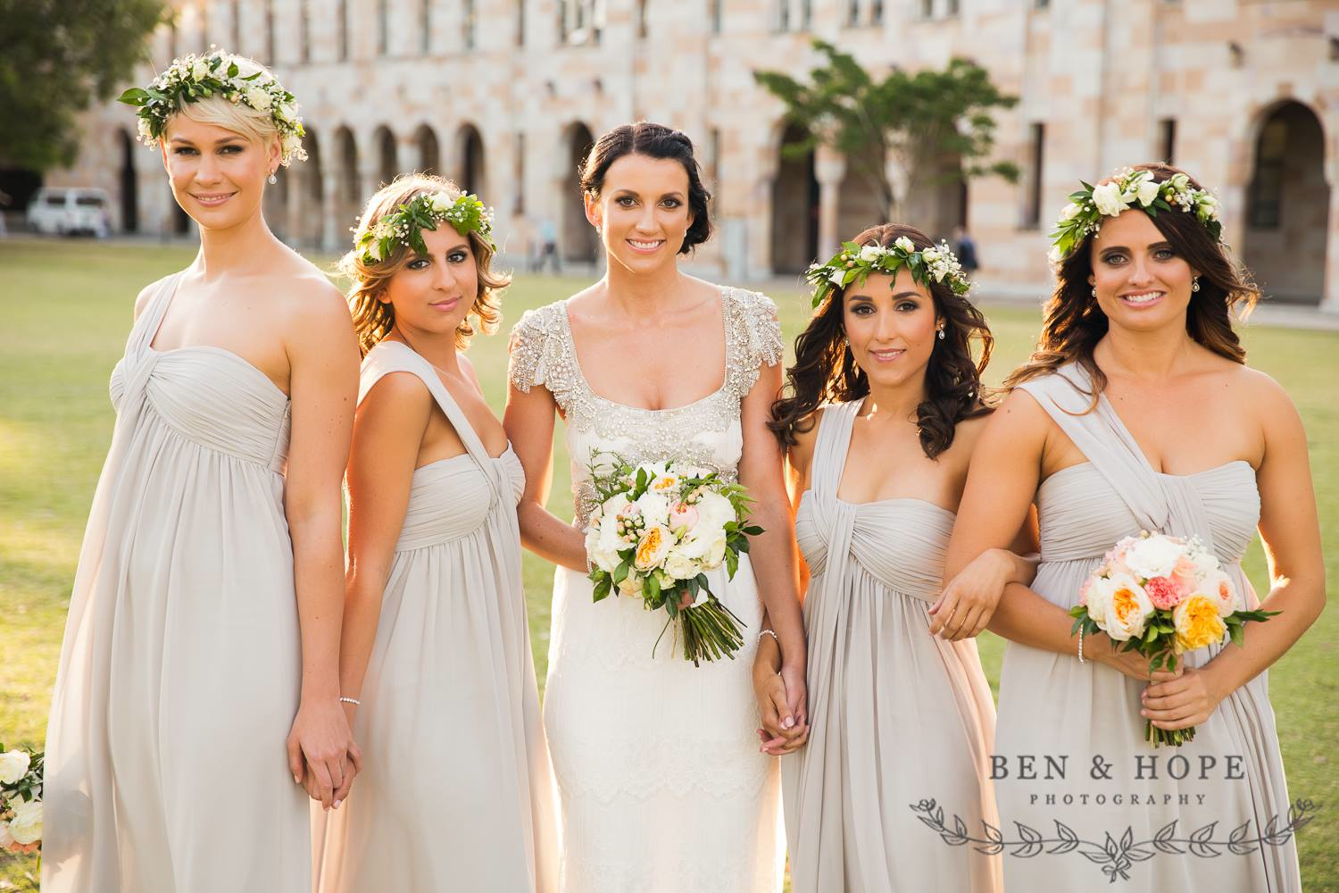 Natasha Millani real bridesmaids in off shoulder bridesmaid dresses in grey colour
