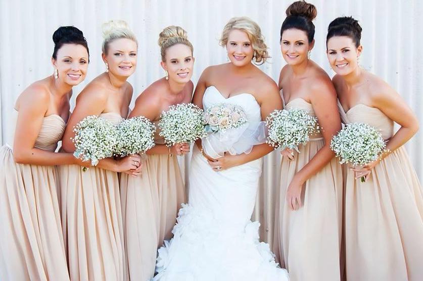 Beige Dresses For Bridesmaids Real Bridesmaids in Beige