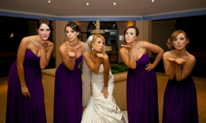 real bridesmaids in purple bridesmaid dresses
