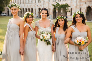 one shoulder bridesmaid dresses in grey