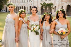 one shoulder bridesmaid dresses in grey