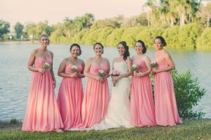 strapless chiffon bridesmaid dresses in coral pink colour