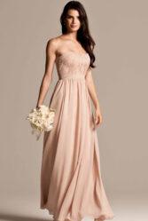 Natasha Millani beige strapless bridesmaid dresses online in Australia