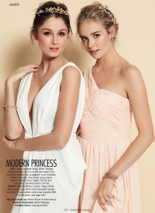 Natasha Millani bridesmaid dresses in light peach apricot